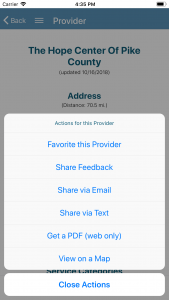 Screenshot (Johego 2.0): Provider Actions