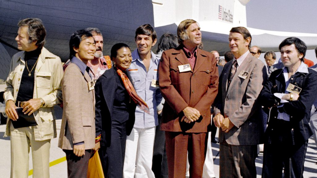 Gene Roddenberry (third from the right) in 1976 with some of the Star Trek cast at the rollout of the Space Shuttle Enterprise in Palmdale, CA.
